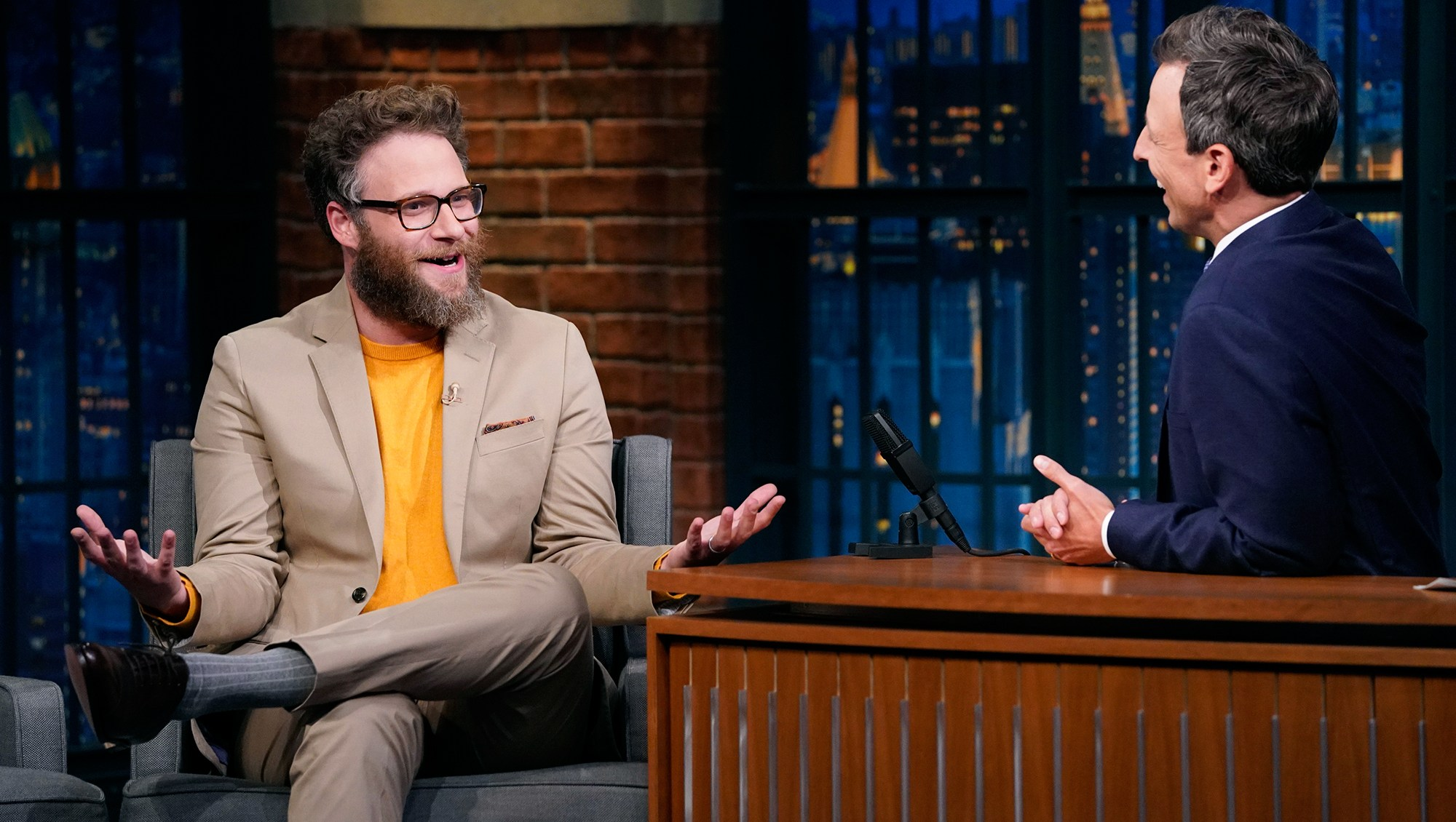 Seth Rogen during an interview with host Seth Meyers on August 8, 2018.