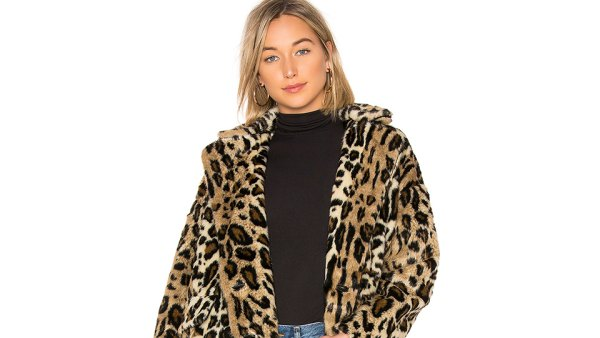 Free People Kate Faux Fur Leopard Coat