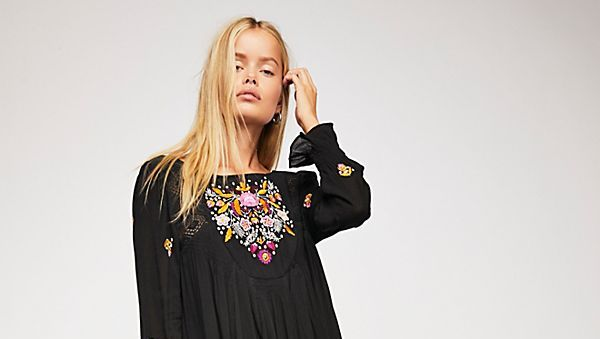 swingy floral embroidered dress black