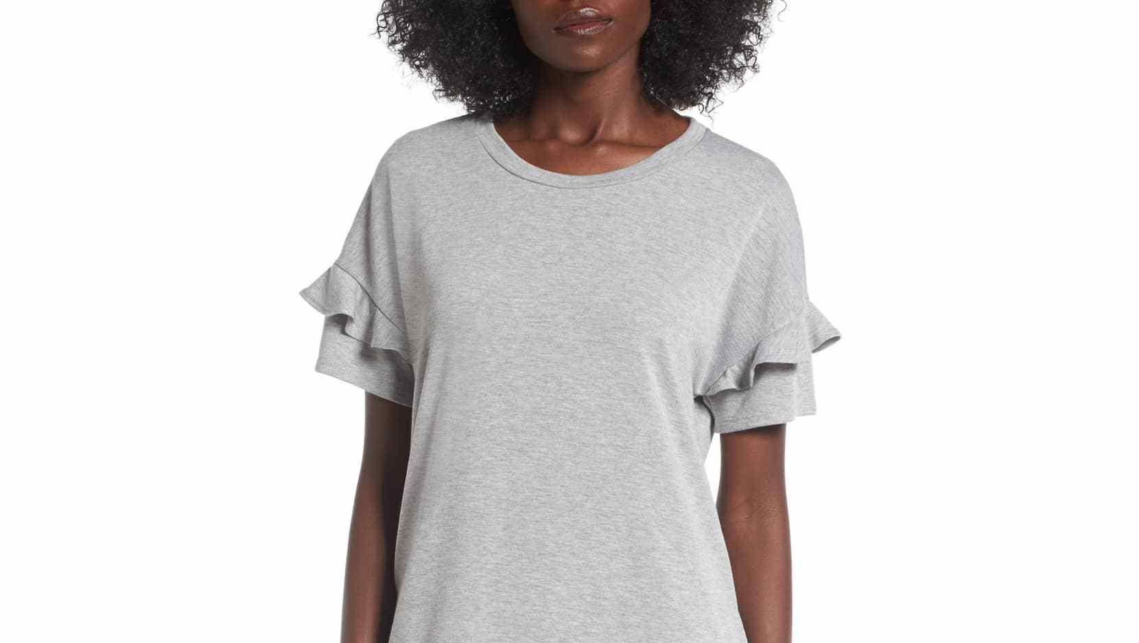 gray ruffled shirt dress