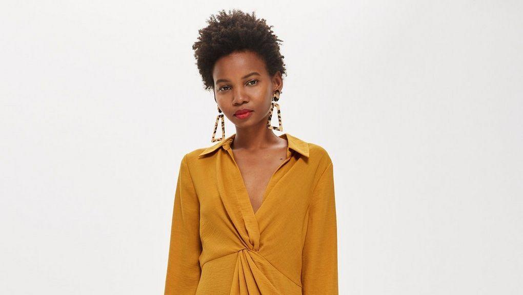 top shop twist mini dress yellow mustard