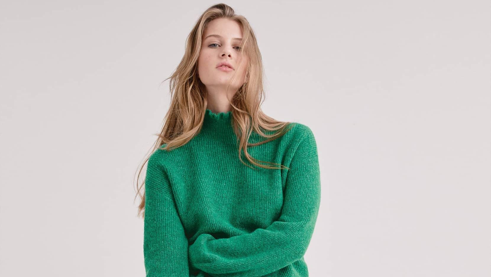 halogen ruffle neck sweater