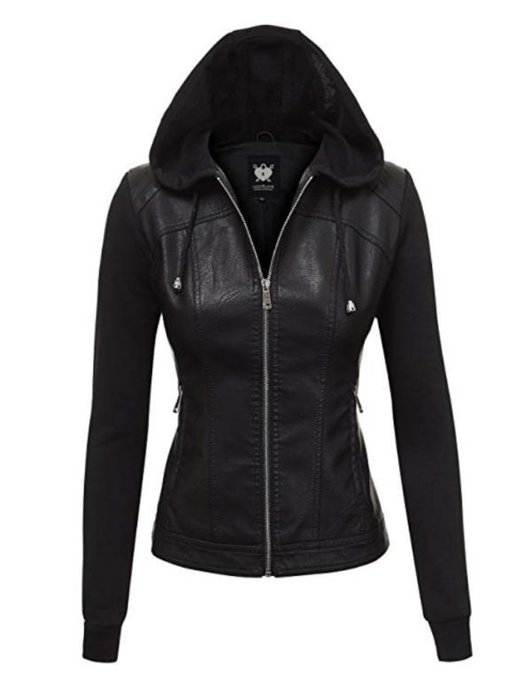 leather jacket with a hood amazon