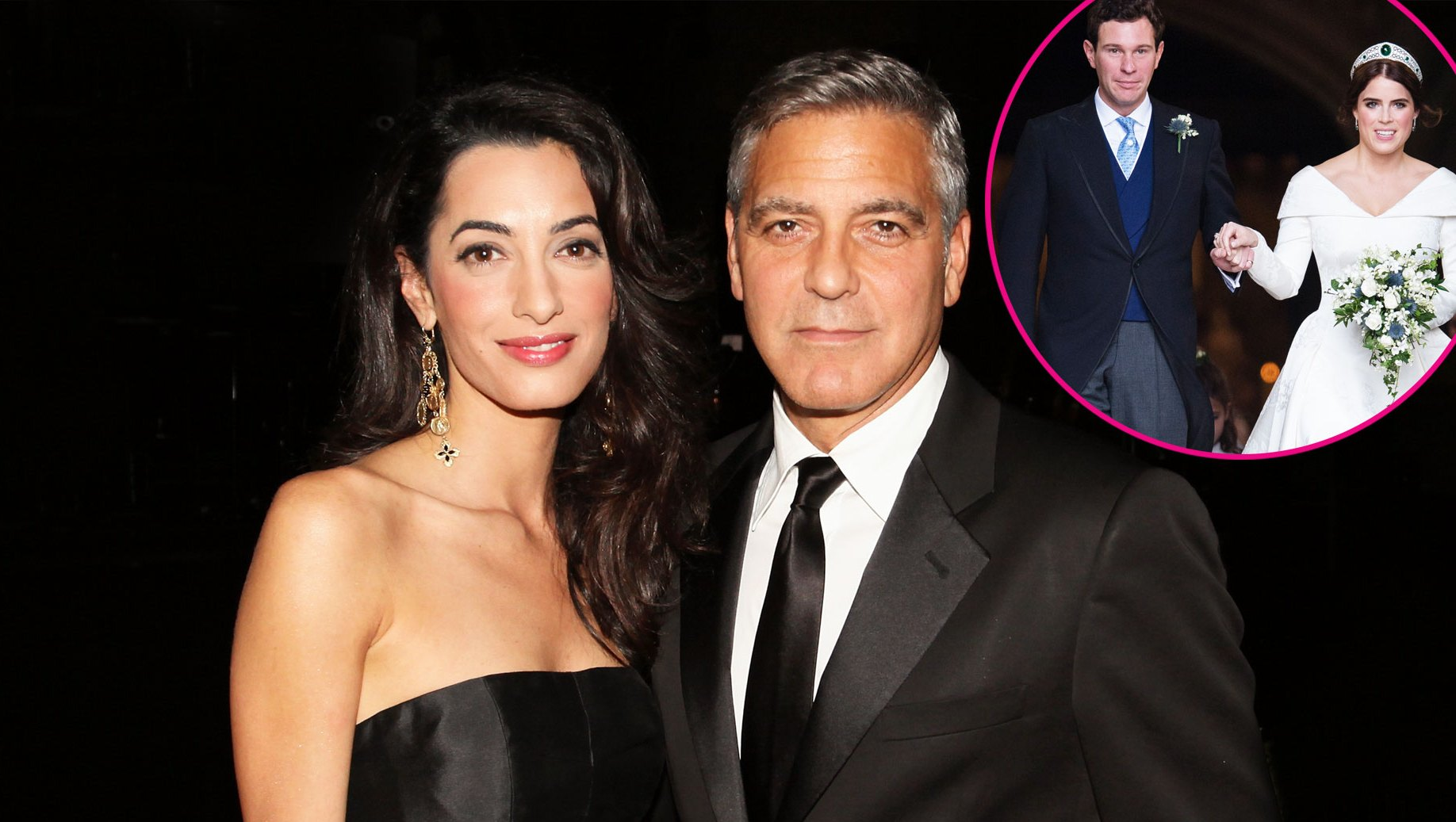 Amal and George Clooney with Jack Brooksbank and Princess Eugenie