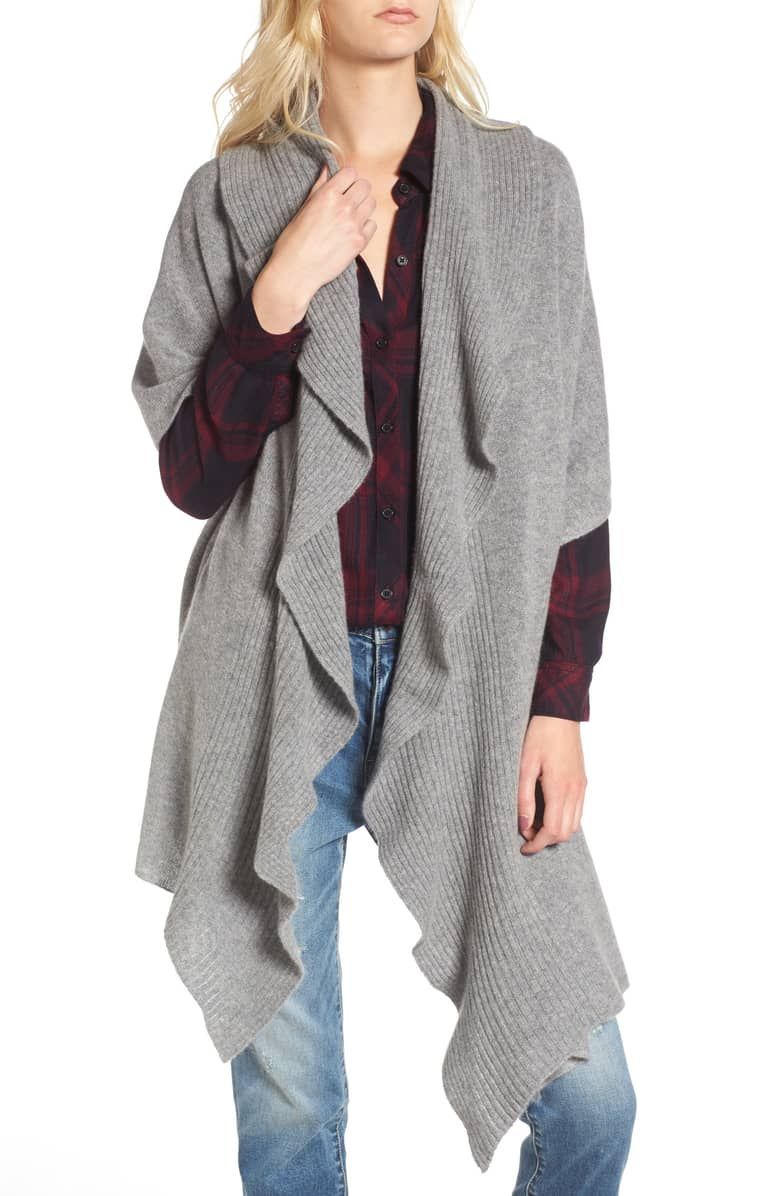 gray cashmere ruffle wrap