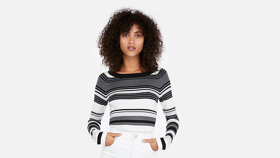 striped sweater black grey white
