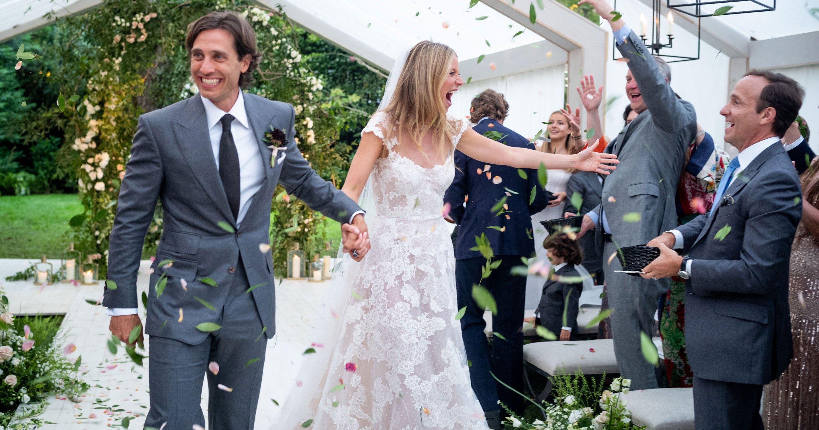 Gwyneth Paltrow Wowed in a Valentino Wedding Gown to Marry Brad Falchuk