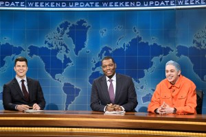 Colin Jost and Michael Che with Pete Davidson during