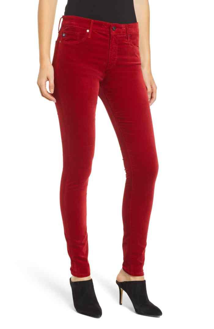 red velvet skinny pants