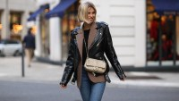 street style leather jacket chanel
