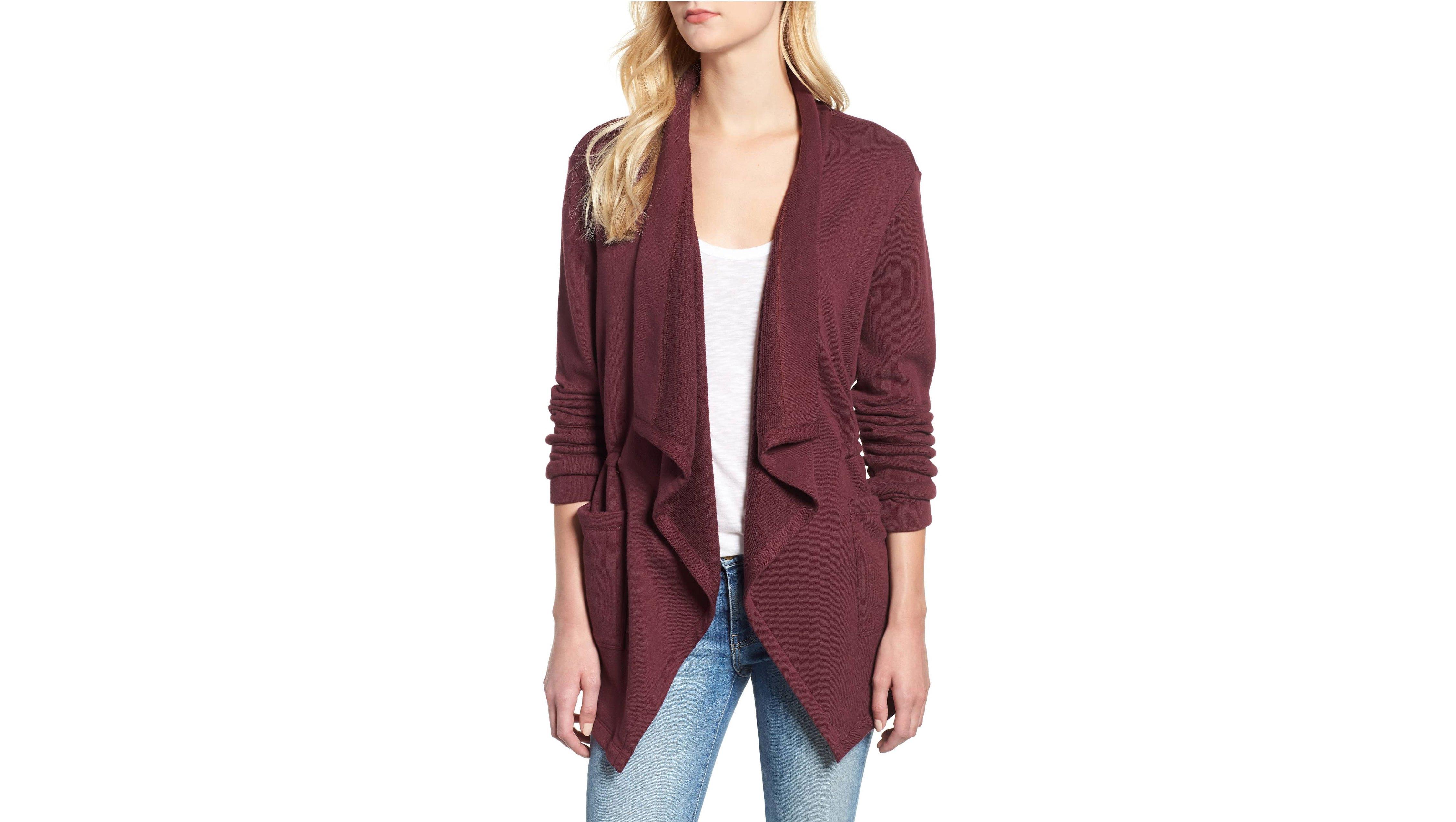 Caslon-Asymmetrical-Drape-Collar-Terry-Jacket