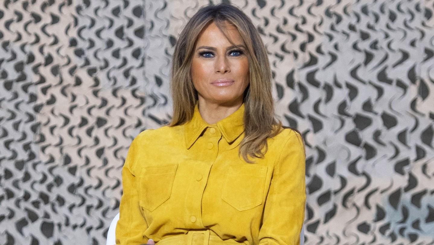 Melania Trump Wears 995 Victoria Beckham Suede Jacket in Iraq