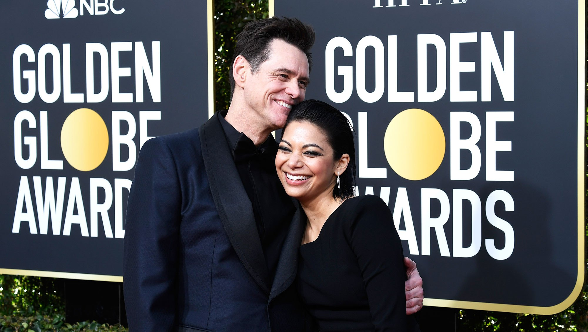 Jim Carrey and Ginger Gonzaga golden globes 2019