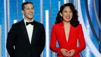 Golden Globes 2019: Sandra Oh Gets Emotional During Opening Monologue With Andy Samberg