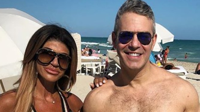 Teresa Guidice and Andy Cohen tan
