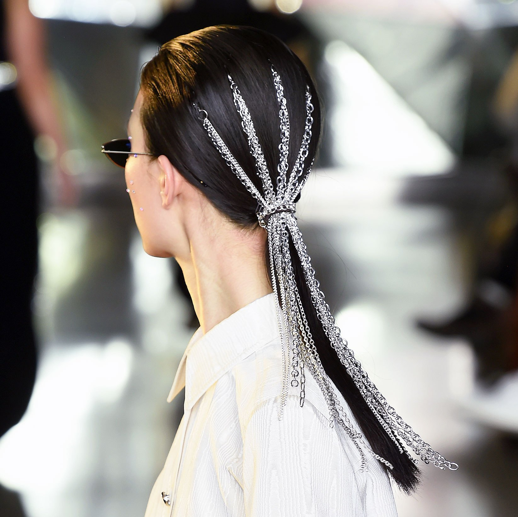 Kardashian Hairstylist Justin Marjan NYFW Christian Siriano Chain Ponytail