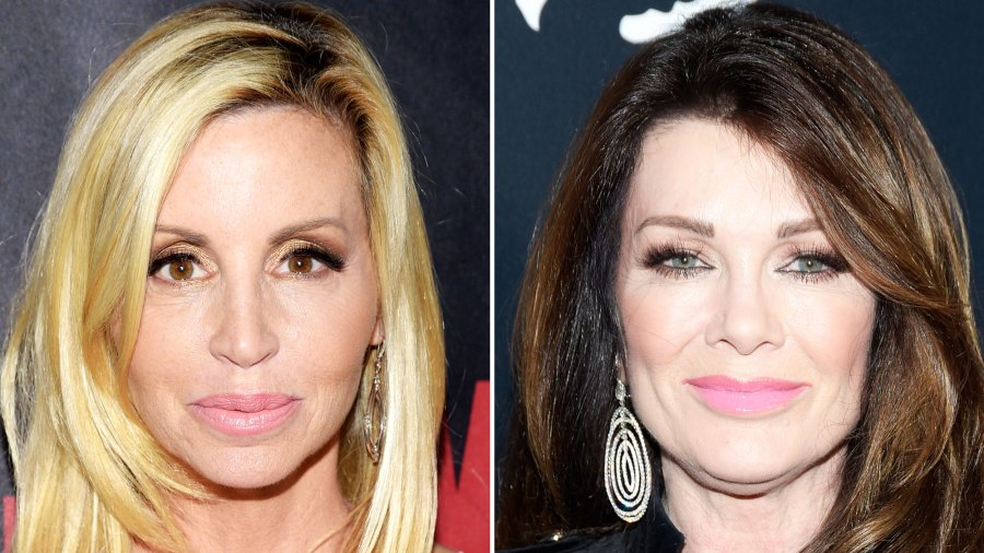 Camille Grammer Lisa Vanderpump Real Housewives of Beverly Hills black and white dress black coat dangling earrings