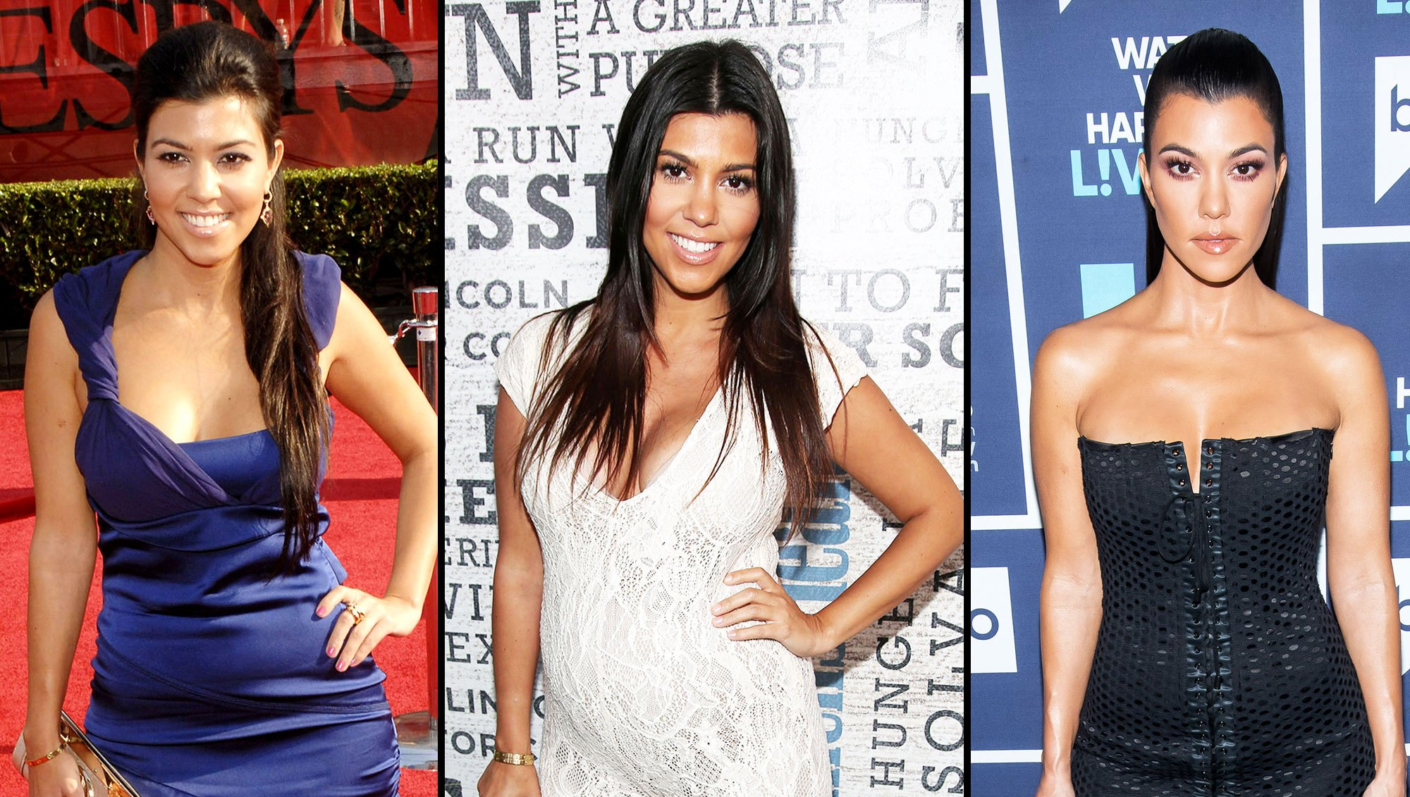 Kourtney Kardashian then and now body evolution