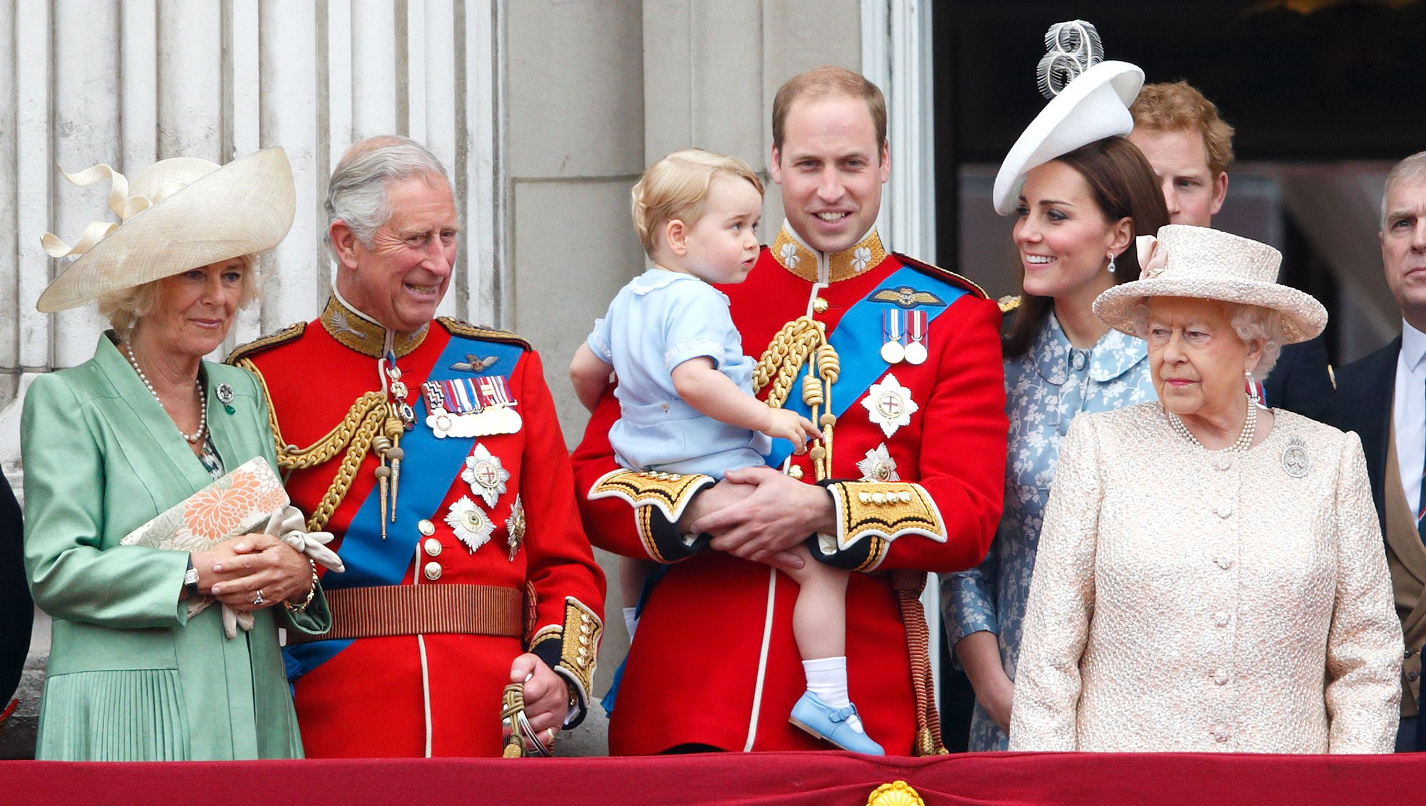 Camilla, Duchess of Cornwall, Prince Charles, Prince of Wales, Prince William, Duke of Cambridge, Prince George of Cambridge, Catherine, Duchess of Cambridge and Queen Elizabeth II