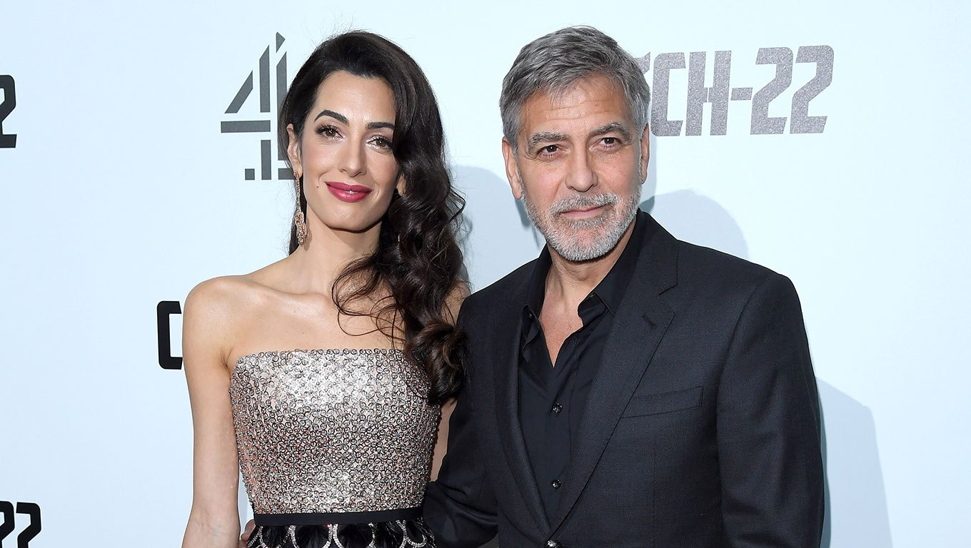 Amal Clooney and George Clooney Sparkly Strapless Mididress
