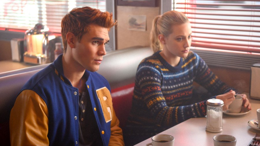 KJ Apa and Lili Reinhartin Riverdale High School