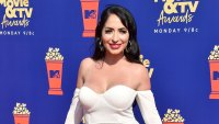 Angelina Pivarnick Wears A White Dress with Open Leg At MTV Video and TV Awards