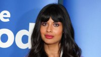 Jameela Jamil Wearing a White Shirt and Purple Jacket and Purple Pants