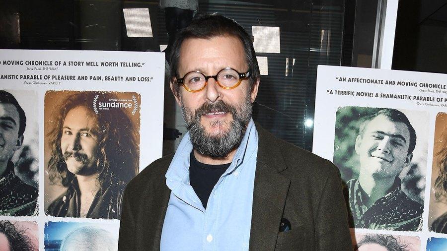 Judd Nelson Breakfast Club David Crosby Long Coat Blue Jeans Blue Button Down Shirt Full Beard Glasses