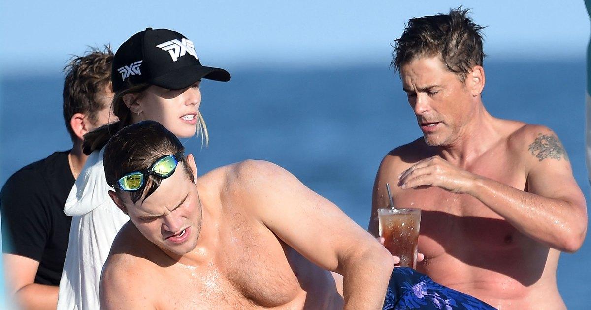 Chris Pratt and Rob Lowe Show Off Beach Bods Alongside a Bikini-Clad Katherine Schwarzenegger: Pics