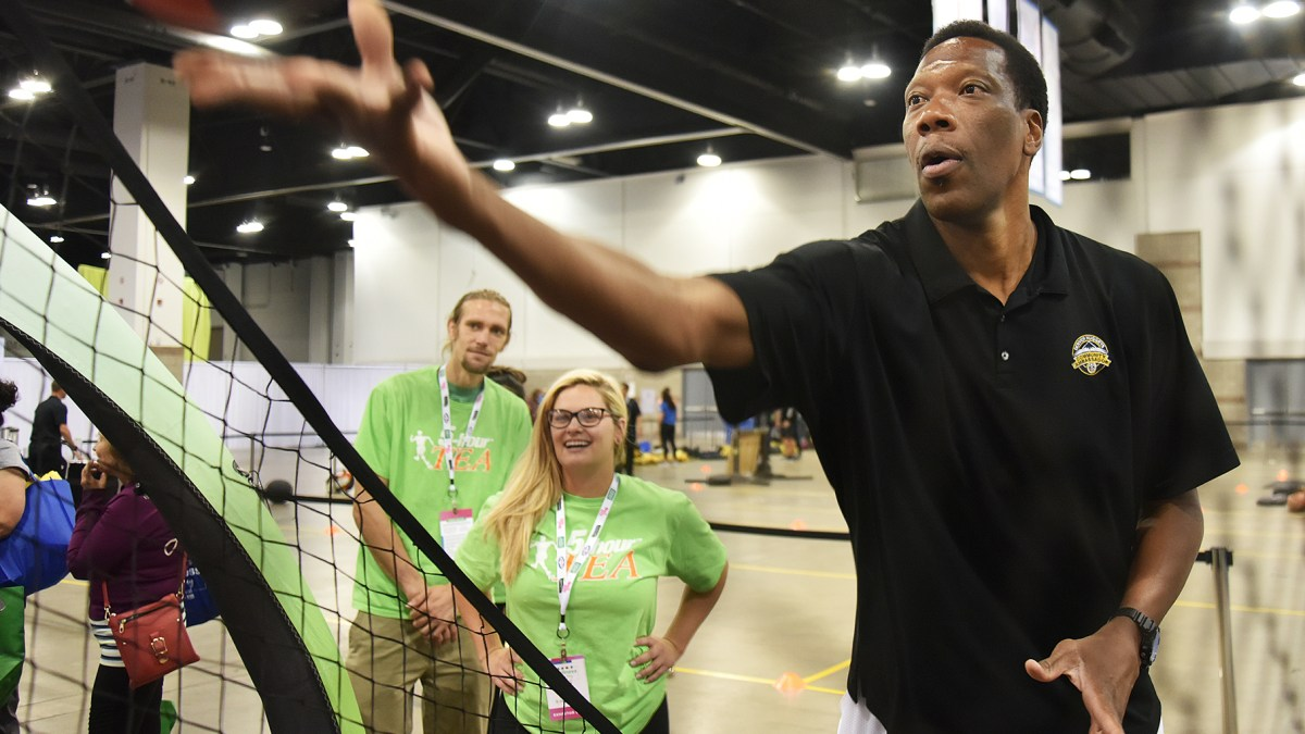 Denver Nuggets Alum Ervin Johnson Reunites With Team's Cheerleaders at Wellness Your Way Festival