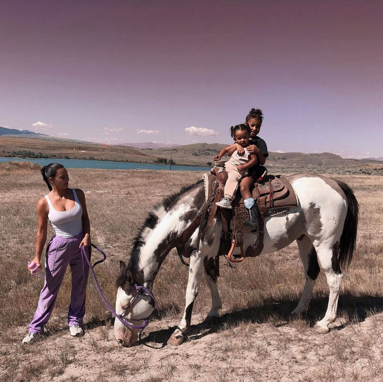 Chicago West Album Horse Riding With North and Kim Kardashian West Wyoming Instagram