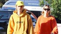 Justin Bieber and Hailey Baldwin Thanks Parents Yellow Hoodie Drew Orange Sweater