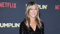 Jennifer Aniston Red Carpet Dumplin Wearing Stella McCartney, Bag By Valextra