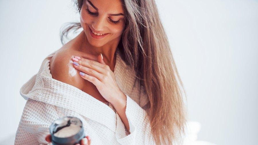 woman using cream