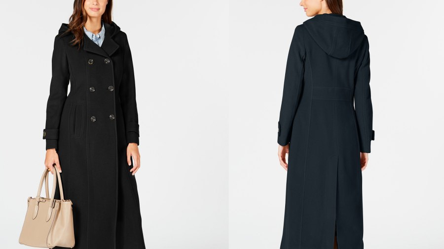 Anne Klein Double-Breasted Hooded Coat (Black/Navy)