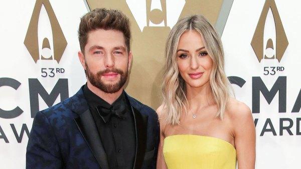 Chris Lane and Lauren Lane 2019 CMA Awards Arrival Red Carpet Yellow Dress