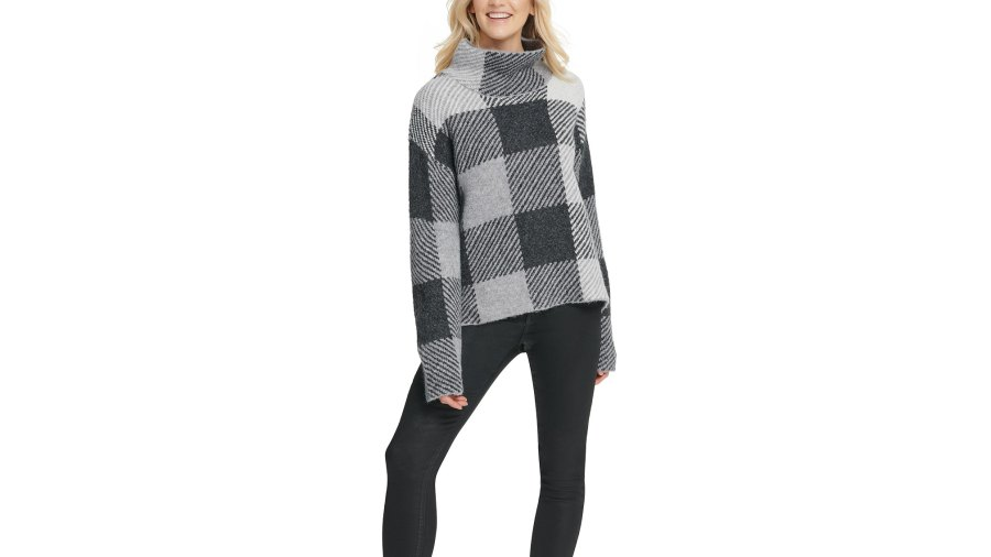 DKNY Striped High-Low Hem Sweater (featured)