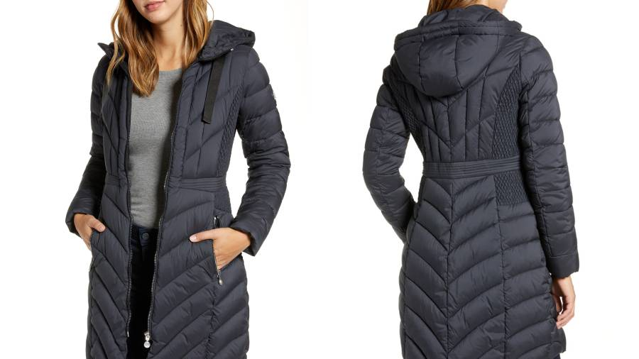 Bernardo Packable Hooded Walker Coat (Coal)