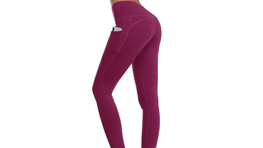 Oalka Women Power Flex Yoga Pants Workout (Out Side Pockets Plum)