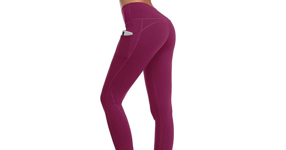 Oalka Women Power Flex Yoga Pants Workout Out Side Pockets Plum - أكثر من 3000 متسوق يقولون إن طماق الأمازون هذه ضرورية