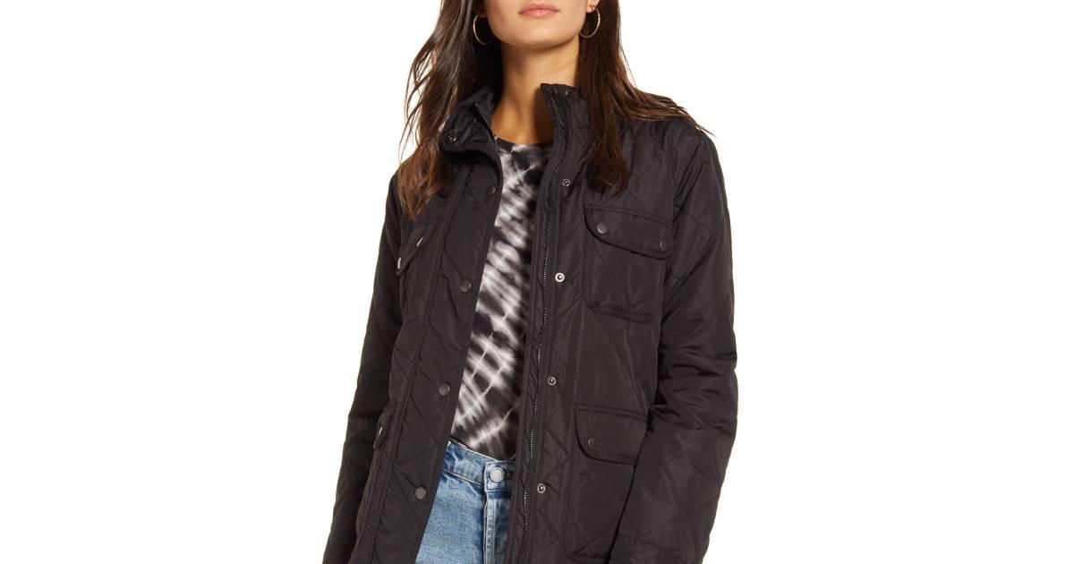 Thread Supply Fleece Lined Quilted Utility Jacket Black - هذا 40 ٪ من سترة المساعدة على حد سواء وظيفية وعصرية