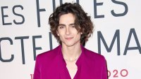 Timothee Chalamet Magenta Outfit December 12, 2019
