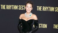 Blake Lively Severed Her Hand On Set Halted Filming The Rhythm Section Premiere Red Carpet Wearing Dolce & Gabbana, Shoes by Christian Louboutin