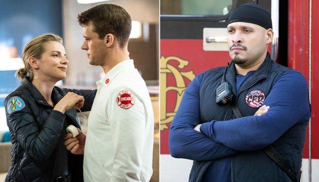 Kara Killmer as Sylvie Brett Jesse Spencer as Matthew Casey and Joe Minoso as Joe Cruz on Chicago Fire
