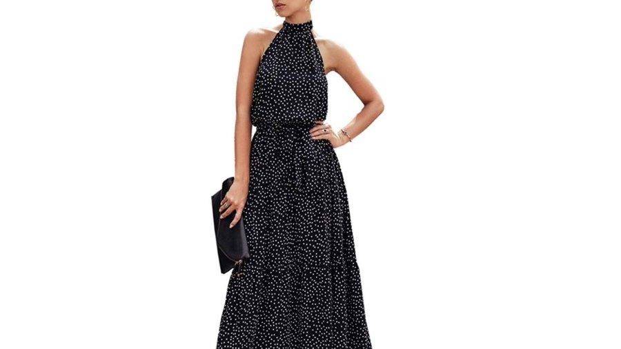 PRETTYGARDEN Women's Casual Halter Neck Sleeveless Maxi Dress (Black)