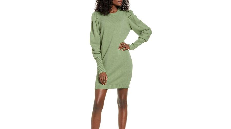 WAYF x Influencers San Francisco Puff Sleeve Sweater Dress (Sage)