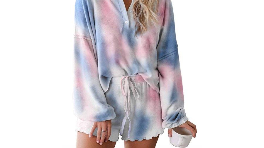Asvivid Womens Tie Dye Printed Ruffle Short Pajamas