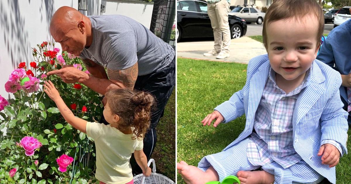 Célébrités enfants faisant des chasses aux œufs de Pâques en famille: photos