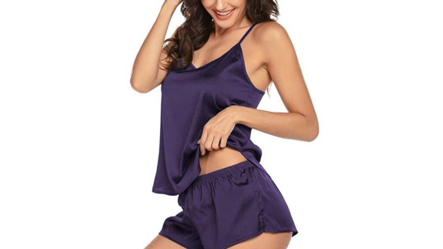 Ekouaer Satin Sleepwear Cami Shorts Set (Purple)