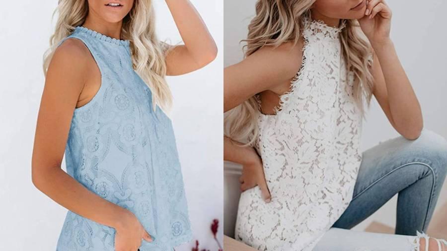 Valphsio Womens Lace Crochet Tank Top